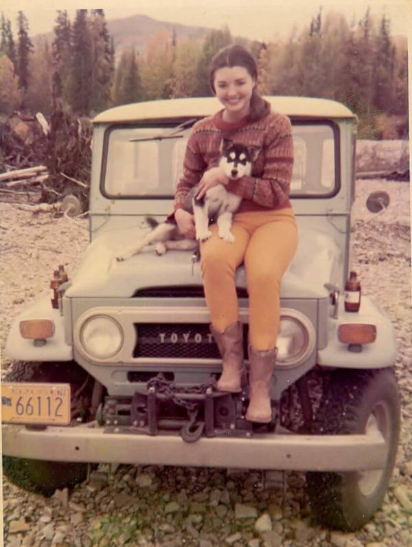 19. 'My Mom When She Lived in Alaska With Her Husky Puppy, Okie'