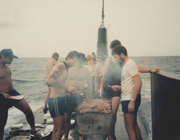 3. 'I Found A Photo Of My Dad Cooking A Barbecue On Top Of A Moving Submarine'