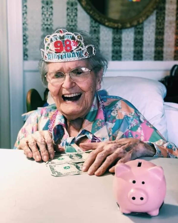 3. This grandmother loves to fill her piggy bank with change.