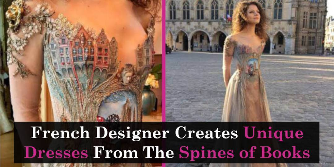 French Designer Creates Unique Dresses From The Spines of Books