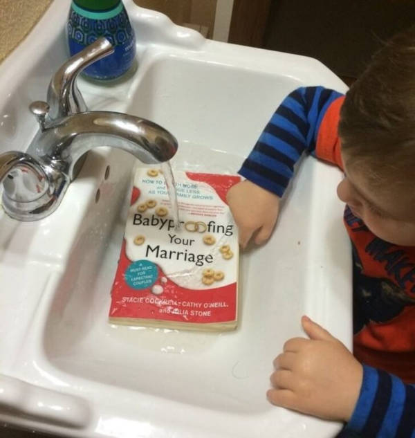 16.At least he tried cleaning the book. That was sweet. Does it matter if he put the entire book under the tap