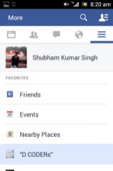 Facebook app updated on Mobile platform 4