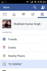 Facebook app updated on Mobile platform 4