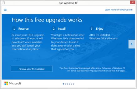 Microsoft offers free Windows 10 update screen 1