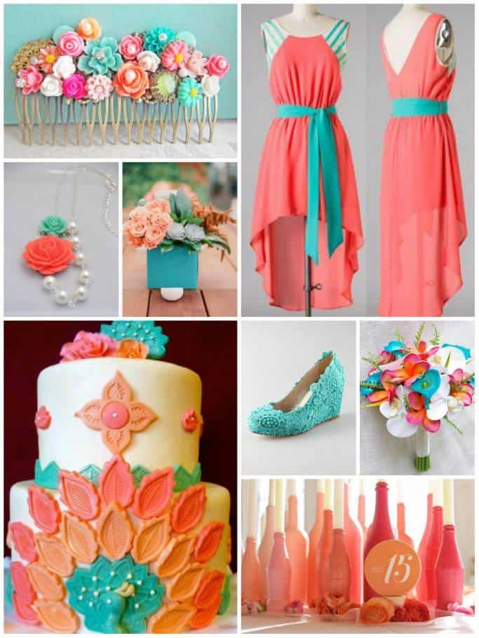 Color Combo Peach And Coral Turquoise Inspired Bride