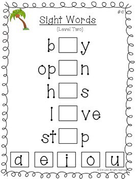 Sight Words Logic Tile Cards: Level Two- First, Second