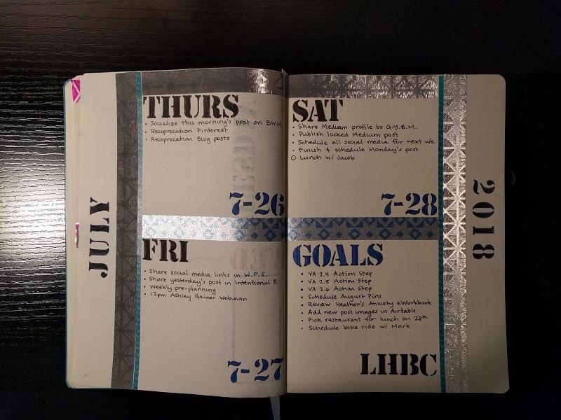 week twenty-four bullet journal