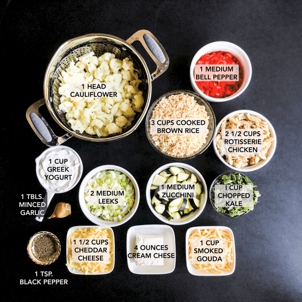 Ingredients prepped and portioned on a black background.