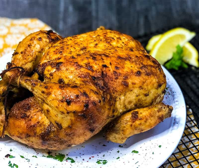 Close up of Air Fryer Whole Chicken.