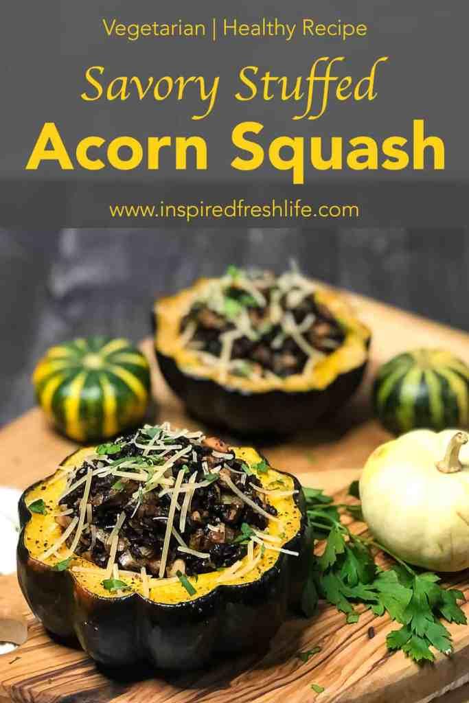 Pinterest image for Vegetarian Stuffed Acorn Squash.