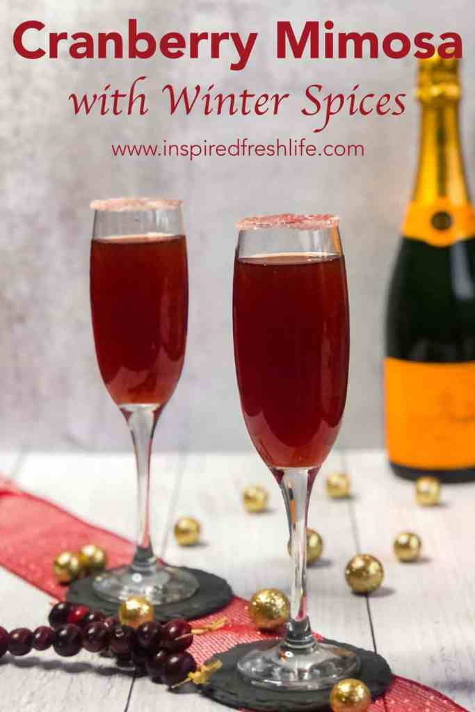 Pinterest image for Cranberry Mimosas.