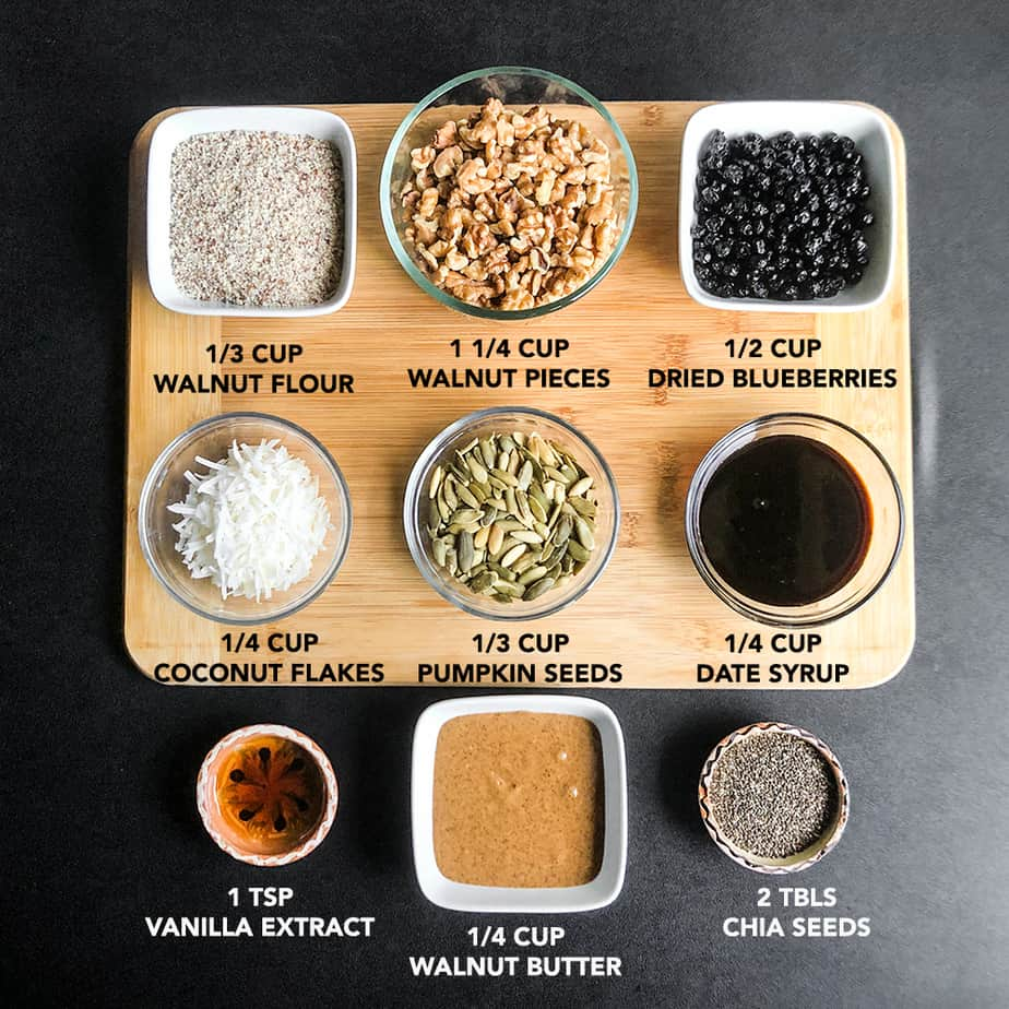 Ingredients prepped and portioned on a wood cutting board.