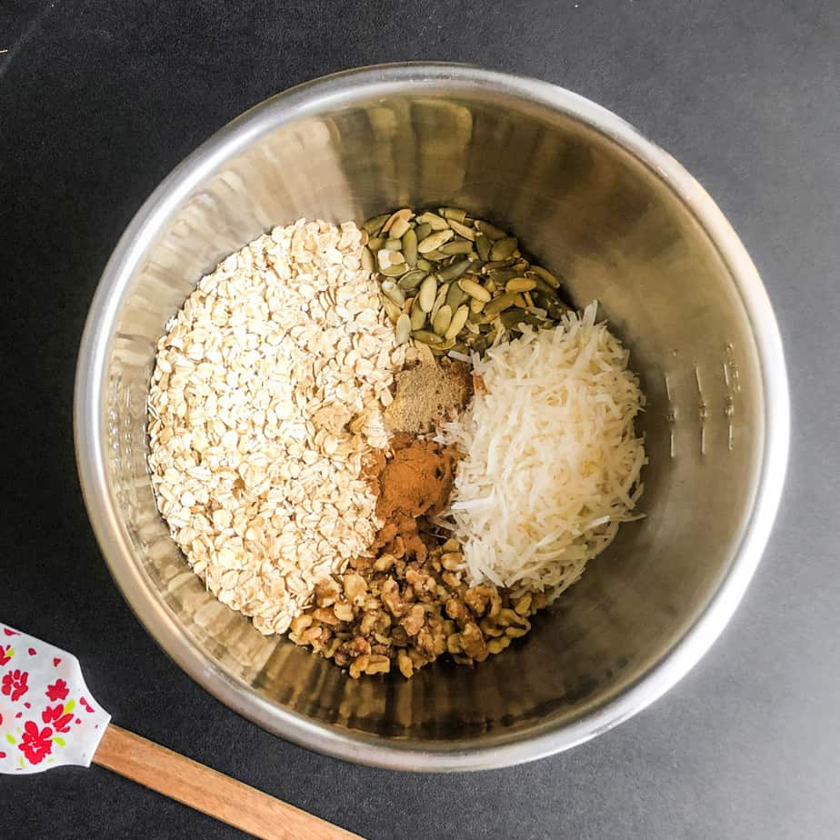 Dry ingredients in a stainless steel bowl.