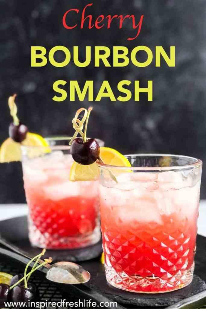 Pinterest image for Cherry Bourbon Smash.