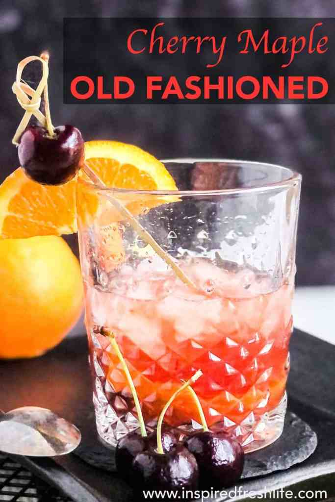 Pinterest image for Maple Syrup Old Fashioned.