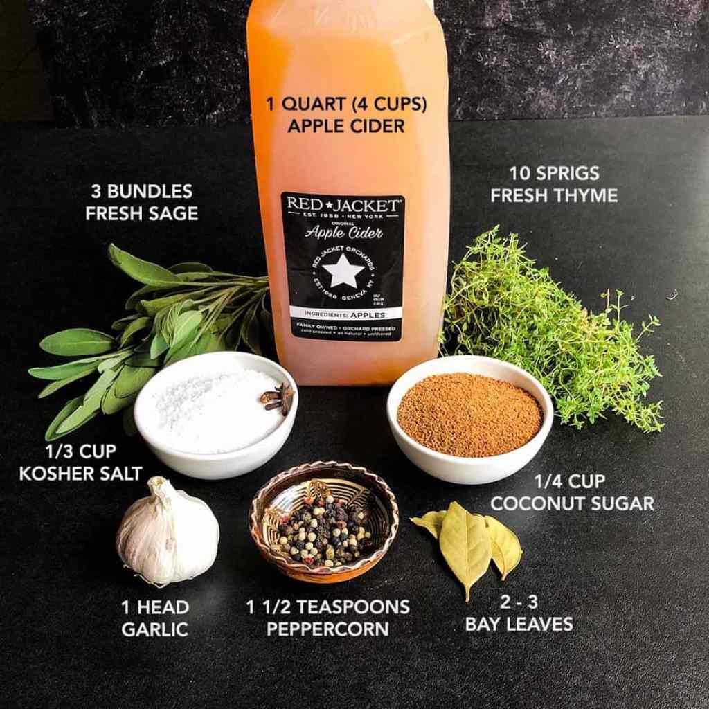 Ingredients for Apple Cider Brown on a black backdrop.