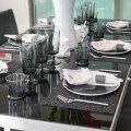 Dining table and comfortable chairs in modern home with elegantz table