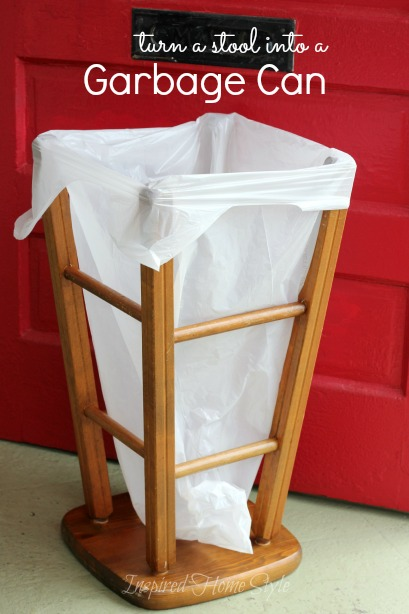 How to Turn a Stool into a DIY Trash Can  Inspired Home Style