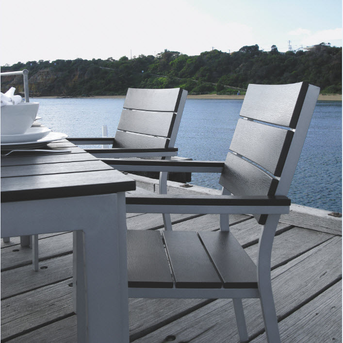 outdoor aluminium table and chairs vintage style salon hart-wood™ 7 piece dining setting (table includes umbrella hole) - inspired living