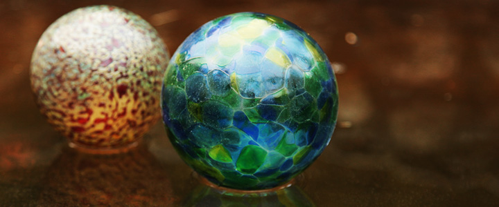 Glass Gazing Balls on Ice in Water Garden :: Inspired Spaces
