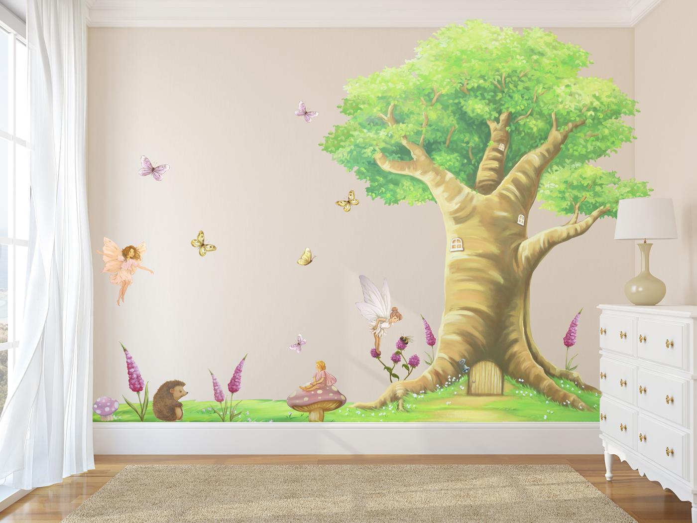 Mural Wallpaper Kids Girls Full Wall Magical Fairy Tree Set Wall Stickers