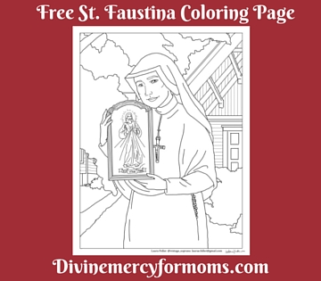 Free St. Faustina Divine Mercy Coloring Page
