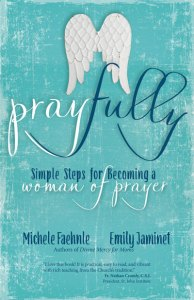 Pray Fully book cover, blue book with angel wings.