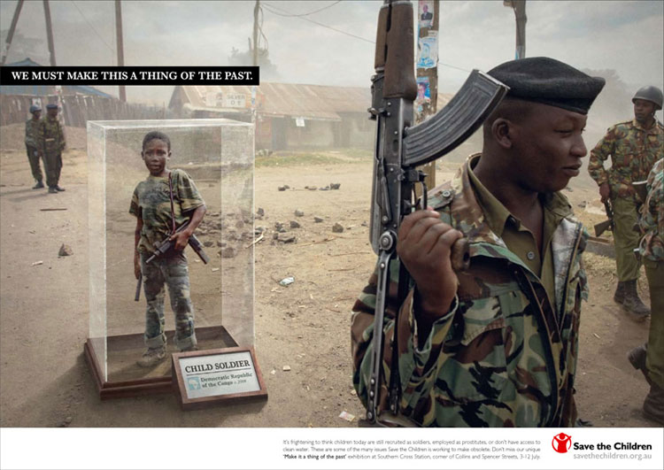 Pubblicità scioccanti: bambini di guerra