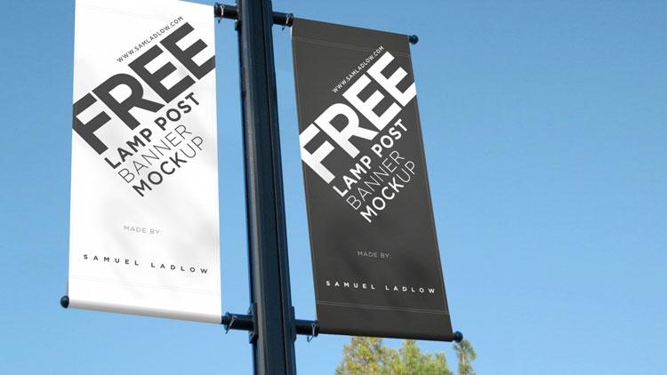 Free Lamp Post Banner Mockup