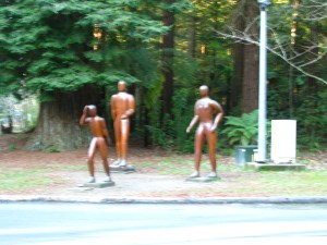 Sculptures at Forest Entrance