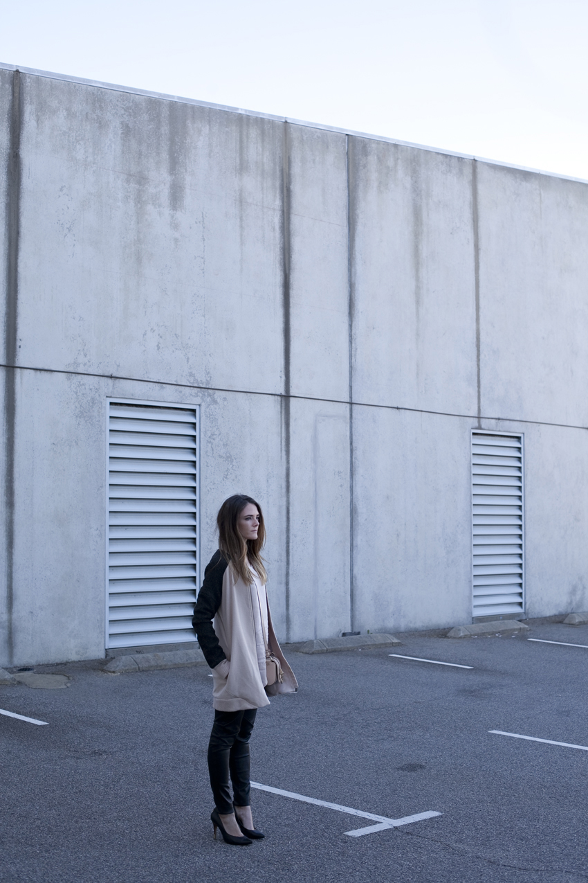 OnceWas bomber jacket, beige coat and leather pants, Perth fashion blogger Inspiring Wit