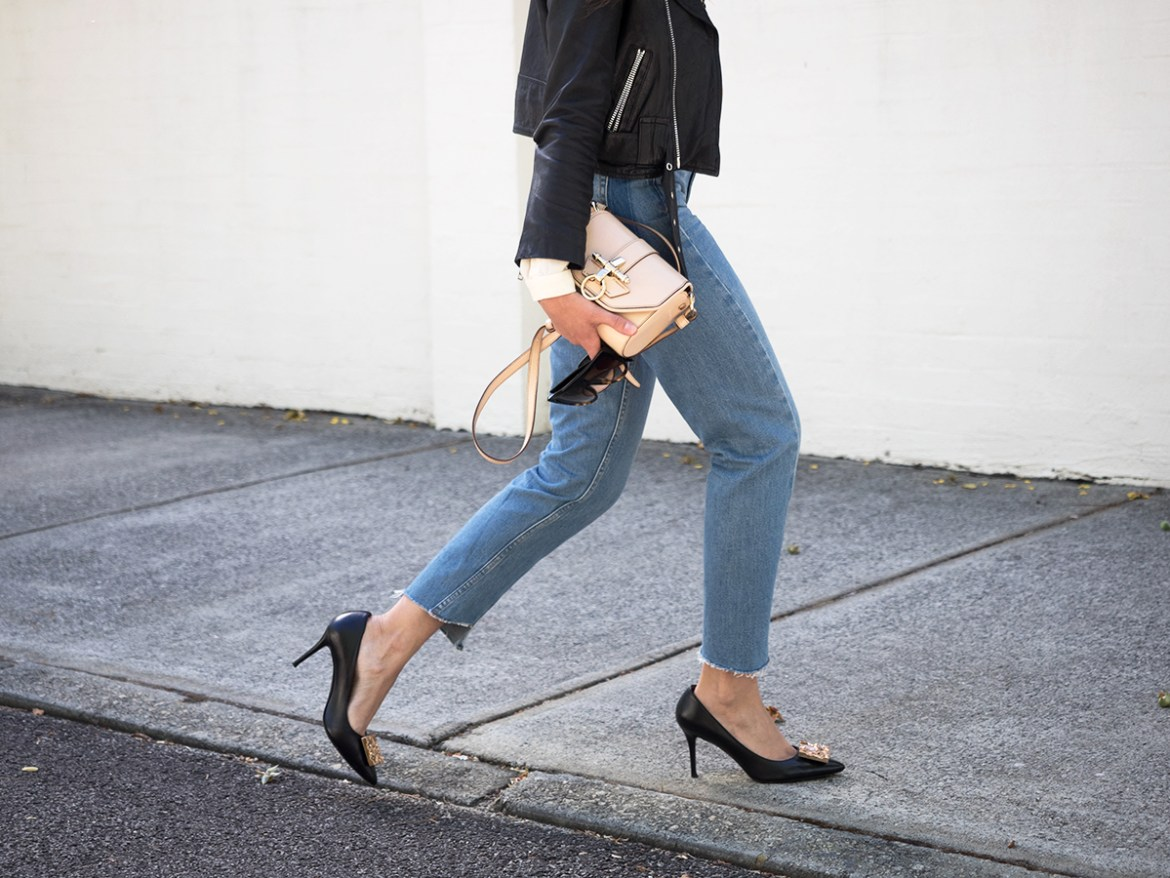wardrobe update essentials for Parisian chic style. The mom jean and mid heel pumps by Topshop and Acne, Givenchy bag on Inspiring Wit