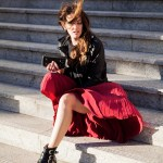 Inspiring Wit australian fashion blog red pleated skirt
