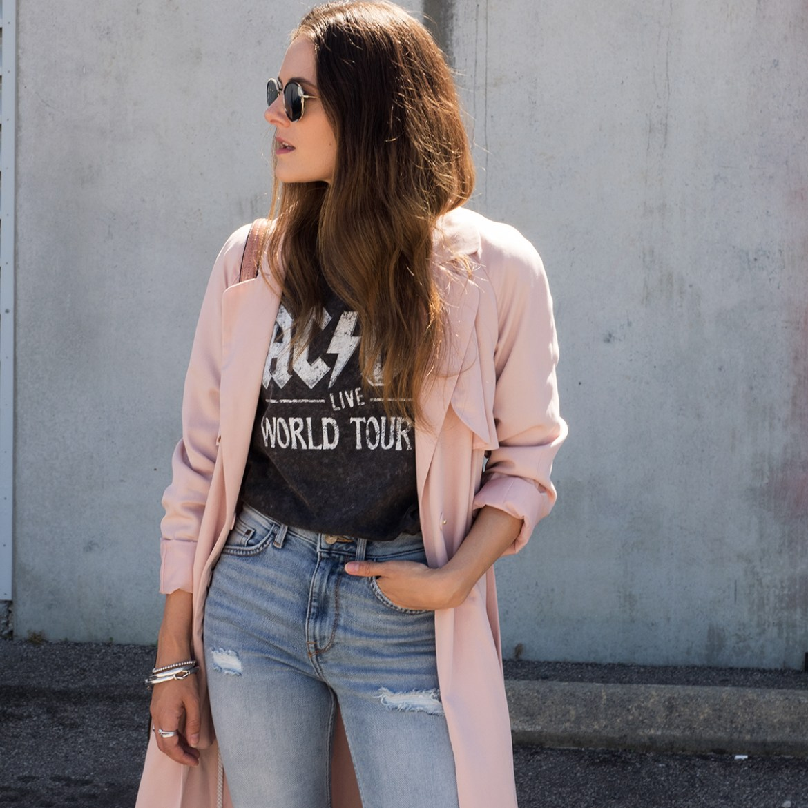 H&M street style for Perth new H&M store on Jenelle, Inspiring Wit australian fashion blogger. In pink trnech coat, ACDC vintage band tee and jeans.