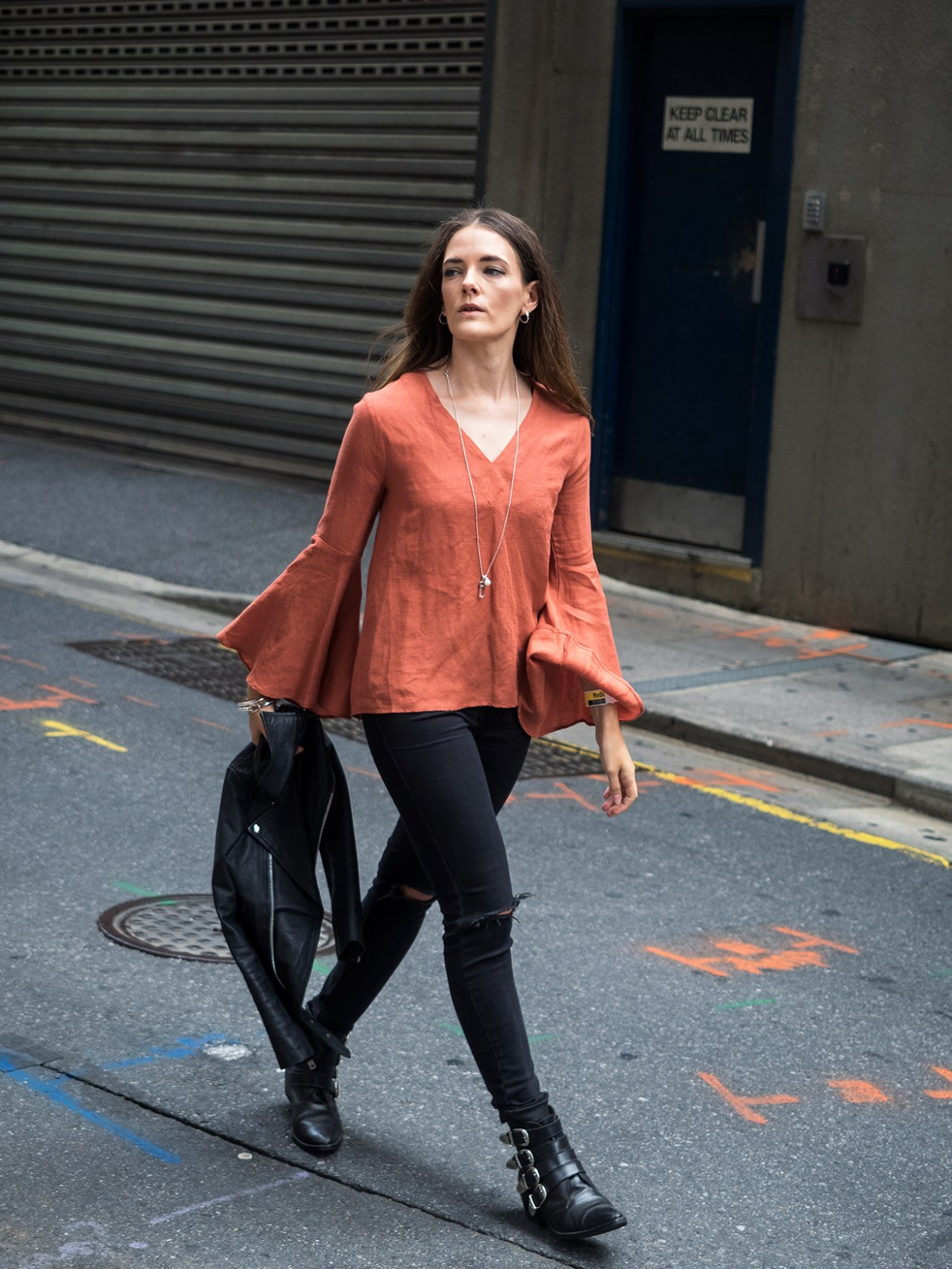 Autumn Wardrobe Seed Heritage autumnal flared sleeve top with leather jacket street style Australian blogger, Inspiring Wit Kailis pearl