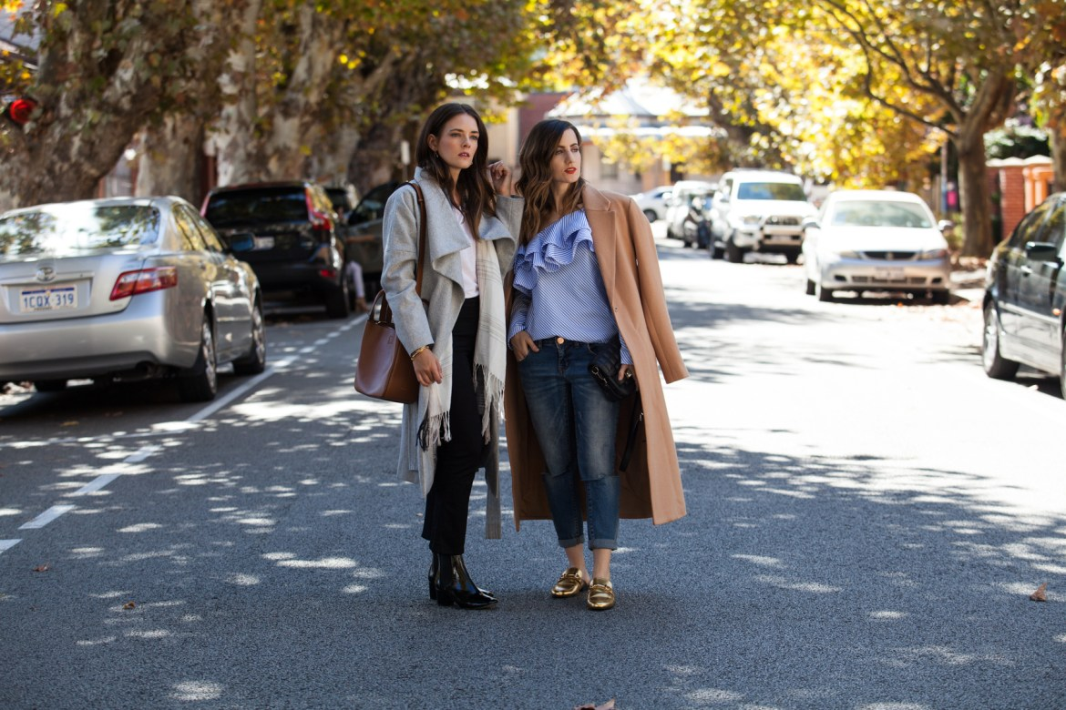 Winter layering, with Inspiring Wit blogger Jenelle and She Does blogger Emily, grey and tan winter coats street style