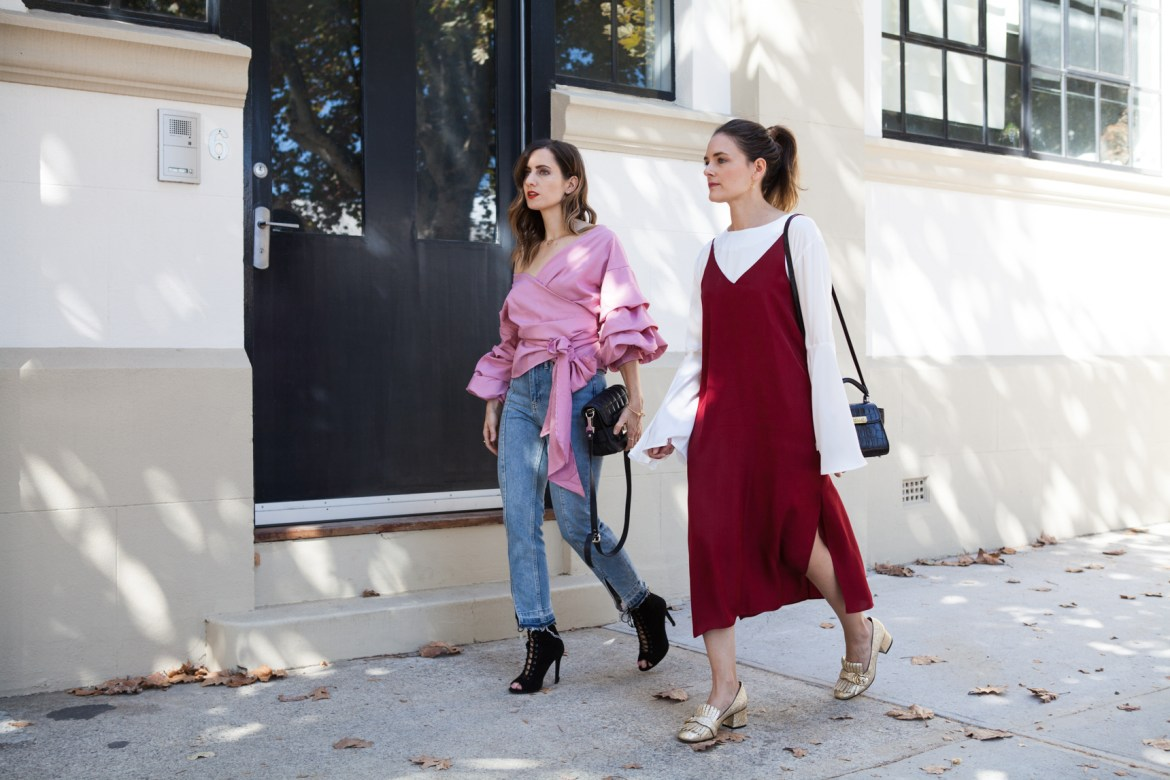 red fashion focus, street style, Jenelle of Inspiring Wit blog and Emily of She Does, Australian style bloggers