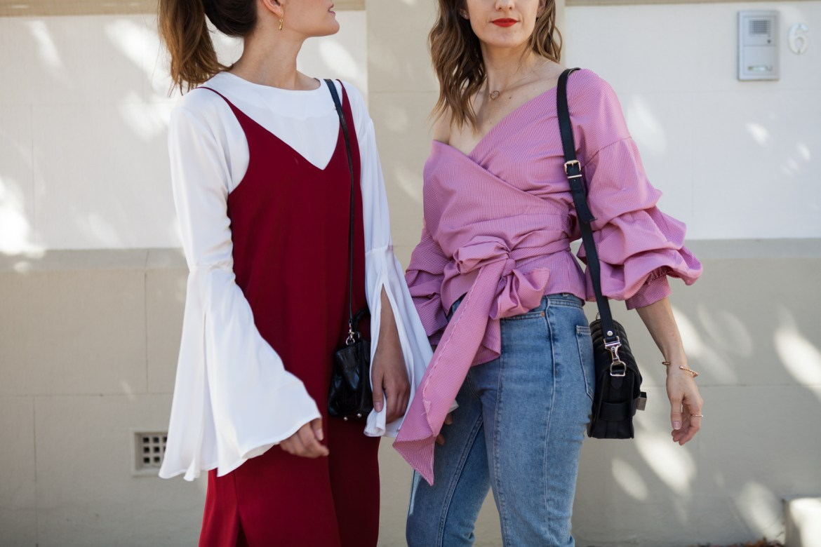 red fashion focus, sleeve details, Jenelle of Inspiring Wit blog and Emily of She Does, Australian style bloggers