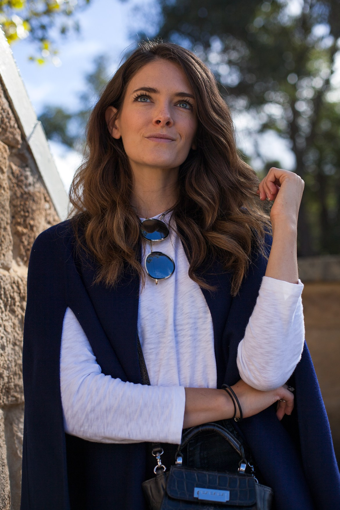 Sussan navy wool cape worn by Australian fashion blogger Jenelle of Inspiring Wit