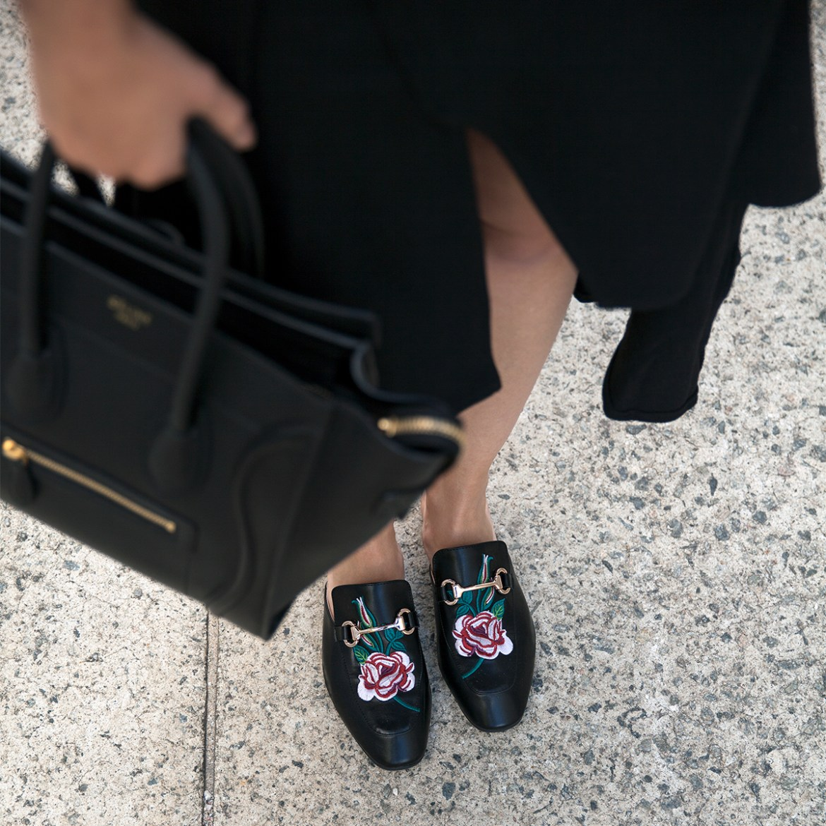 midi skirts, five reasons you need one, denim jacket, Ego rose embroidered slides, Celine tote, Hello Parry midi skirt worn by Inspiring Wit fashion blogger Jenelle Witty