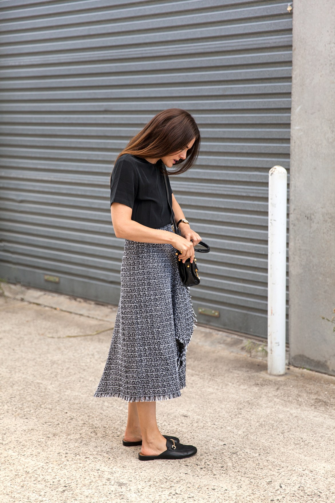 Delphine tweed midi skirt worn by Jenelle of Inspiring Wit