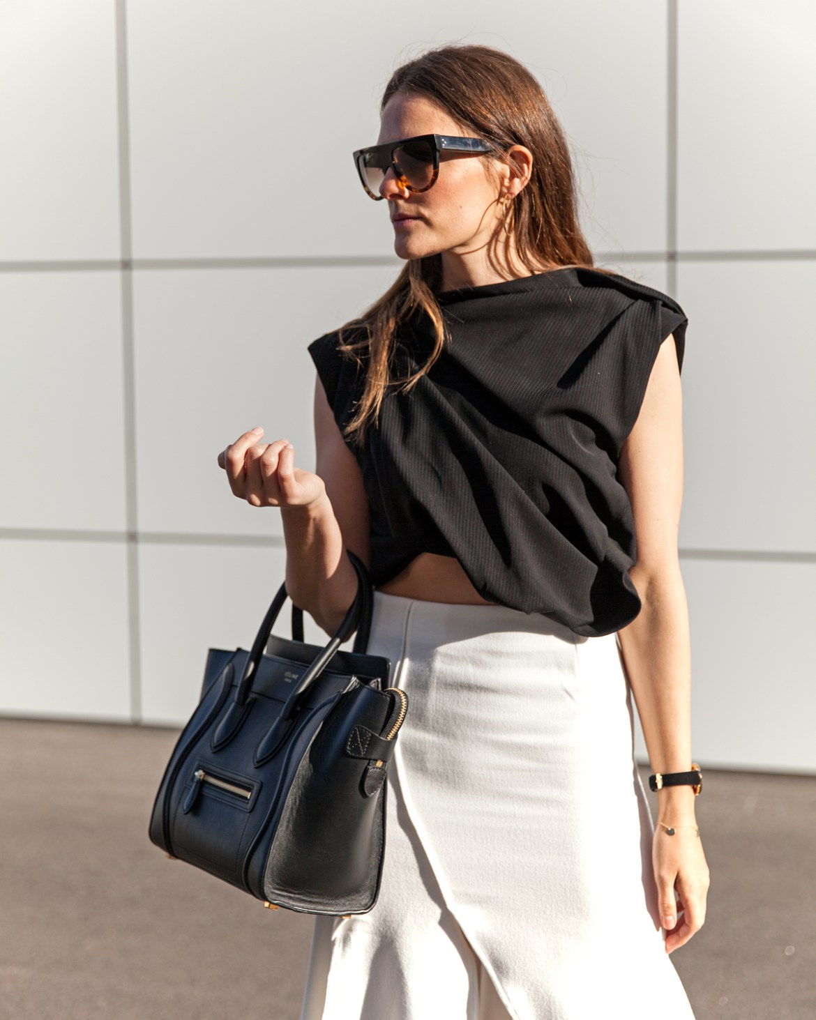 midi skirts, five reasons you need one, Ellery Crop, Celine sunglasses, Celine tote, Hello Parry midi skirt worn by Inspiring Wit fashion blogger Jenelle Witty