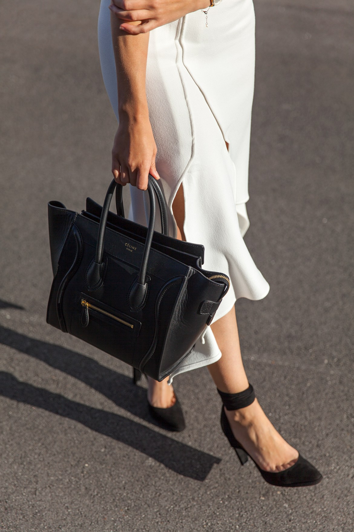 midi skirts, five reasons you need one, Hermes suede heels, Celine tote, Hello Parry midi skirt worn by Inspiring Wit fashion blogger Jenelle Witty