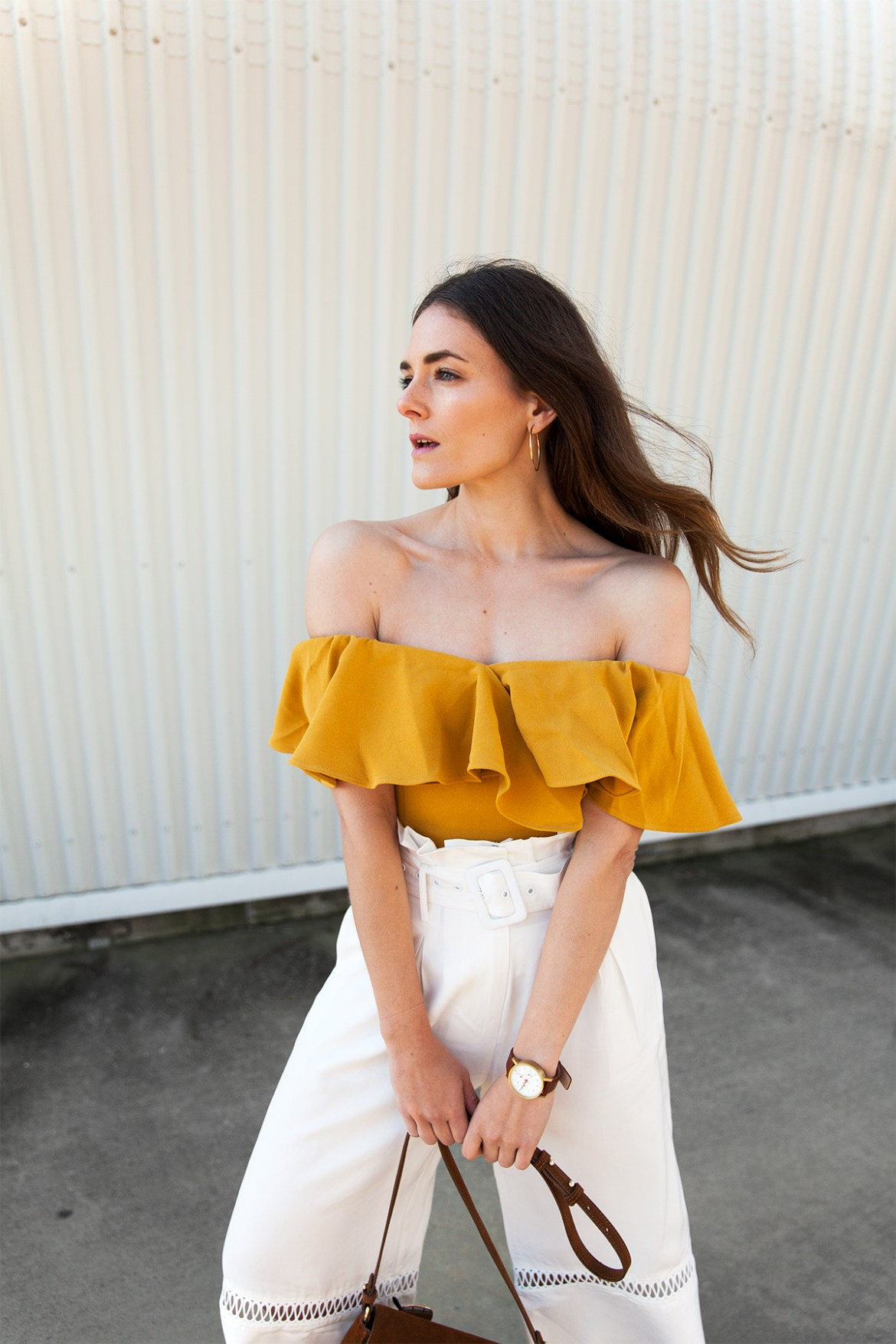 mustard yellow ruffle off the shoulder top from Collate worn by Inspiring Wit blogger Jenelle