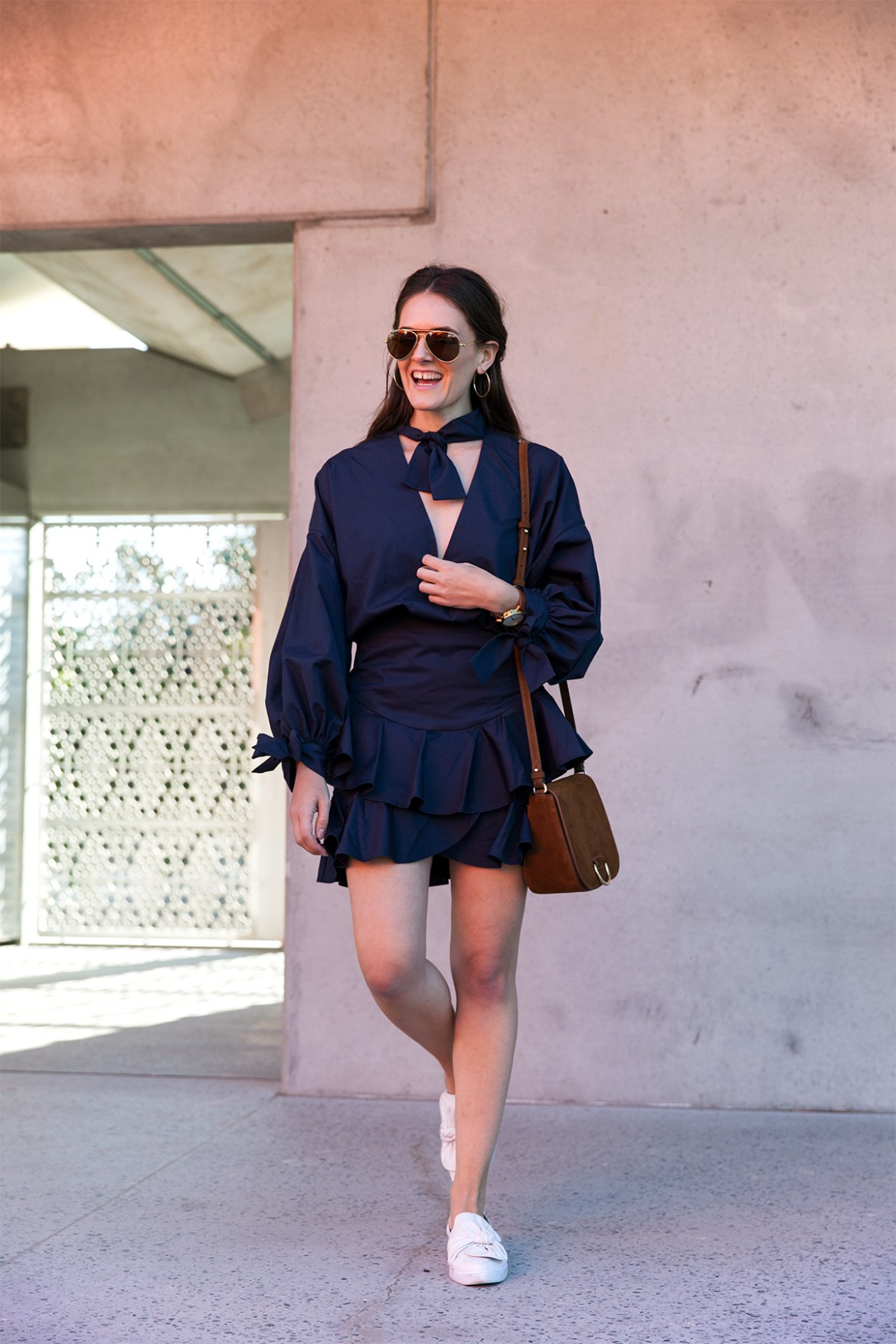 Custom clothing, made-to-order Fame and Partners navy The Yara Two Piece Dress worn by Inspiring Wit fashion blogger Jenelle
