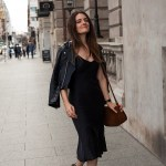 Silk Laundry black silk slip dress with Chloe Susannah boots worn by Inspiring Wit blogger Jenelle Witty