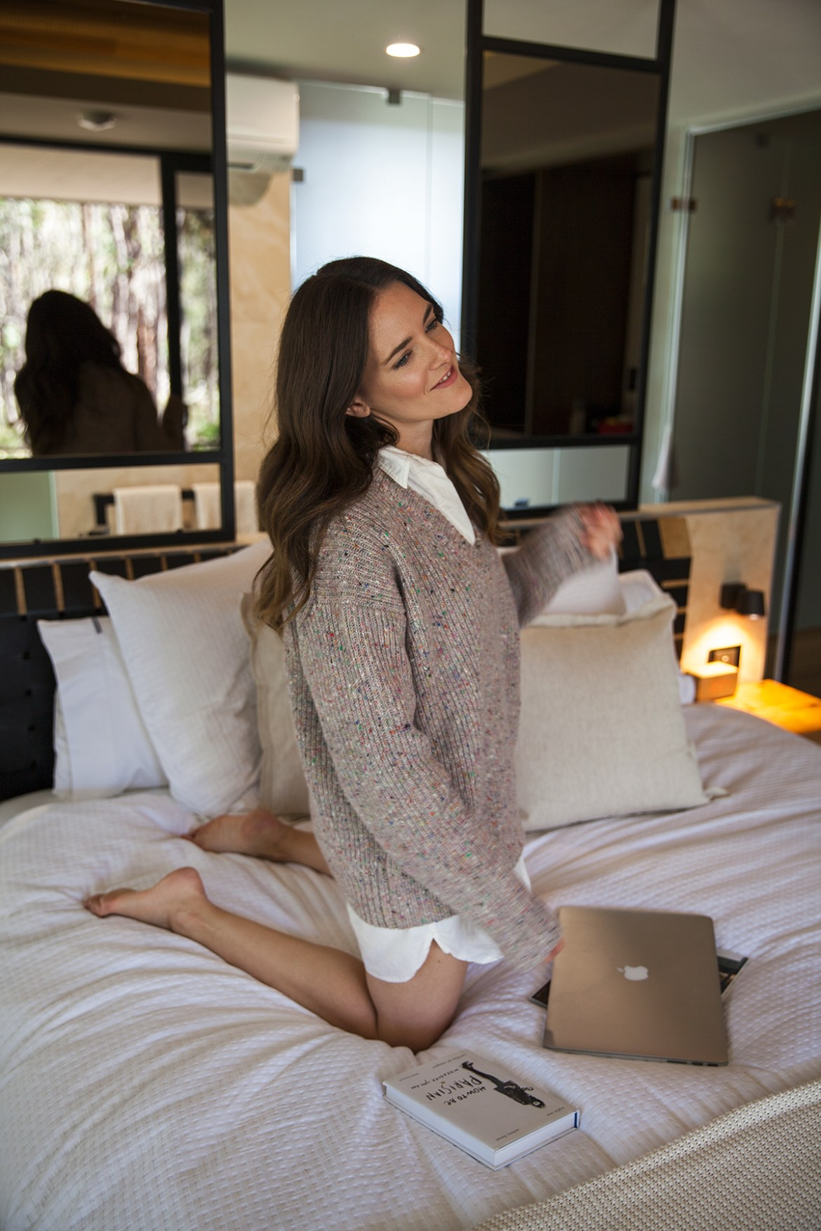 Jenelle of travel blog Inspiring Wit at the new Amaroo Spa Retreat outside of Perth wearing Jac and Jack knitwear