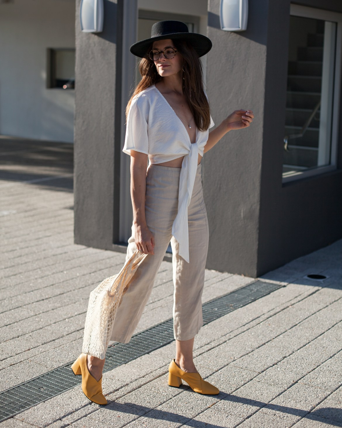 statement coloured pump heel EOD extraordinary ordinary day Tara pump heels in mustard worn Staple linen tie front top by Inspiring Wit blogger Jenelle