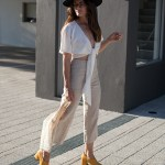 EOD extraordinary ordinary day Tara pump heels in mustard worn Staple linen tie front top by Inspiring Wit blogger Jenelle