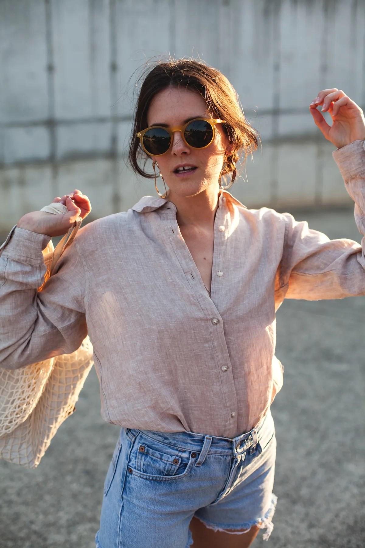 Inspiring-Wit-Uniqlo-Premium-linen-long-sleeve-shirt-beige-zero-UV-glasses